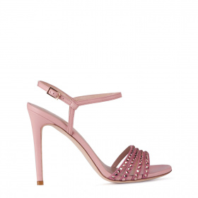 Crystals embellishment pink high heel sandals