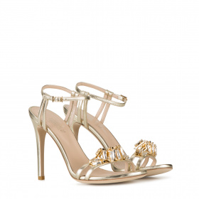 Crystals embellishment high heel sandals
