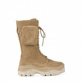 Military style boots in suede