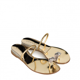 Thong-toe sandals with color rhinestones