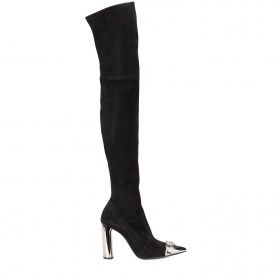 Metal toe knee-high boots