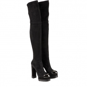 Metal toe knee - high boots