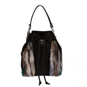 Suede backpack with fur